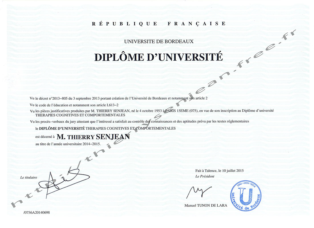 diplome universitaire en psychologie
